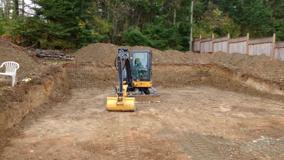 Cowichan Bay Project Excavation services, excavating, cowichan, Duncan, landscaping, drainage services, foundations. Vorsprung